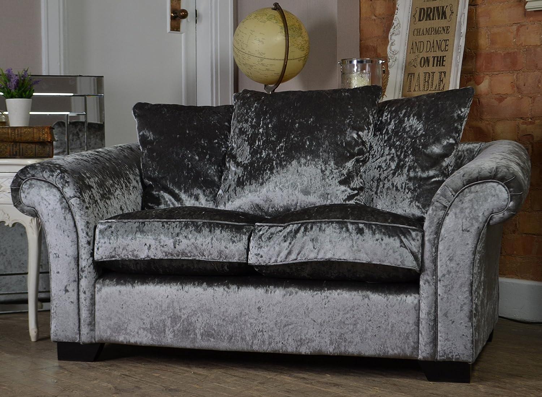 Pleasing Made In The Uk Glitz 2 Seater Sofa Silver Crushed Velvet Evergreenethics Interior Chair Design Evergreenethicsorg