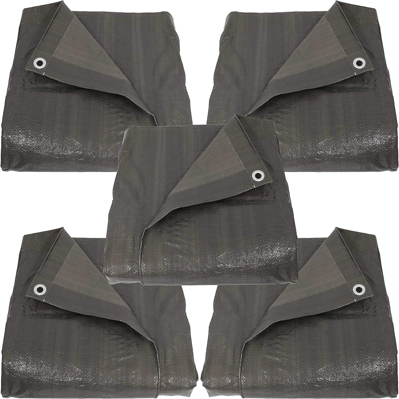 Outdoor Reversible Dark Gray Sunnydaze Decor Heavy Duty Multi-Purpose Sunnydaze 30x50 Waterproof Tarp