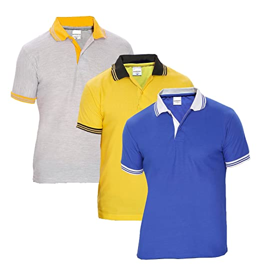 4ae9f797 Baremoda Men's Polo T Shirt Blue Grey Yellow Combo Pack of 3: Amazon ...