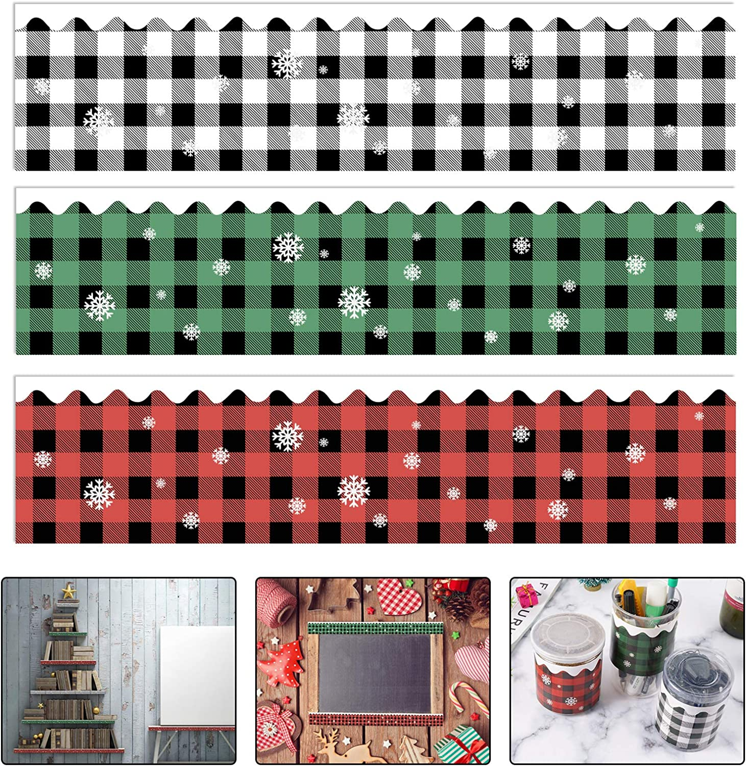 60 Pcs Christmas Bulletin Borders Stickers, 69 Ft Buffalo Plaid Bulletin Board Border for Classroom School, Christmas Thanksgiving Decor for DIY Greeting Cards Letters Gifts
