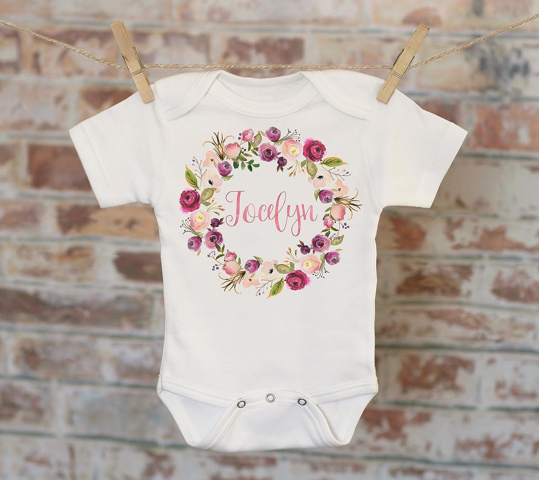 Pink Wreath Custom Baby Onesie® , Personalized Onesie, Custom Baby Outfit, Rustic Style Onesie, Boho Baby Onesie, Girl Name Onesie