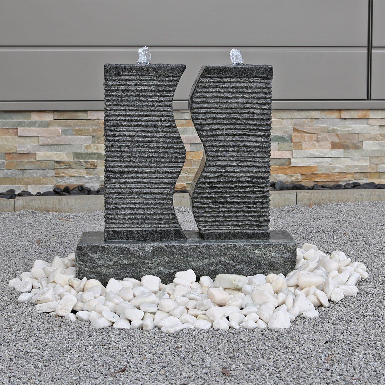 CLGarden Granit Springbrunnen SB5 Wasserspiel 2 Säulen mit LED Beleuchtung Set
