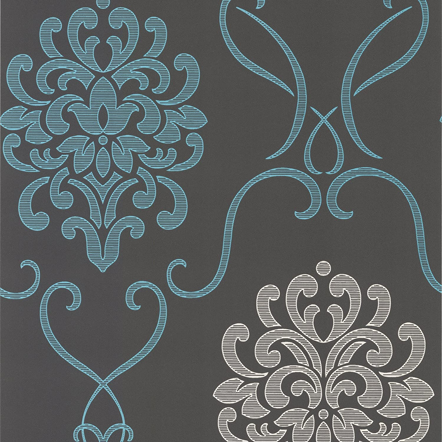 Decorline Dl30443 Suzette Aqua Modern Damask Wallpaper Wallpaper