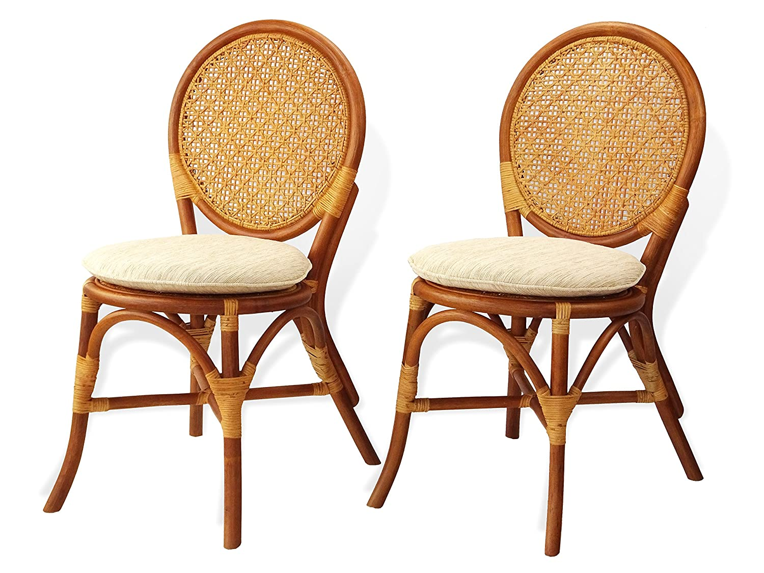 Amazon Com Rattan Wicker Furniture Set Of 2 Denver Dining Armless