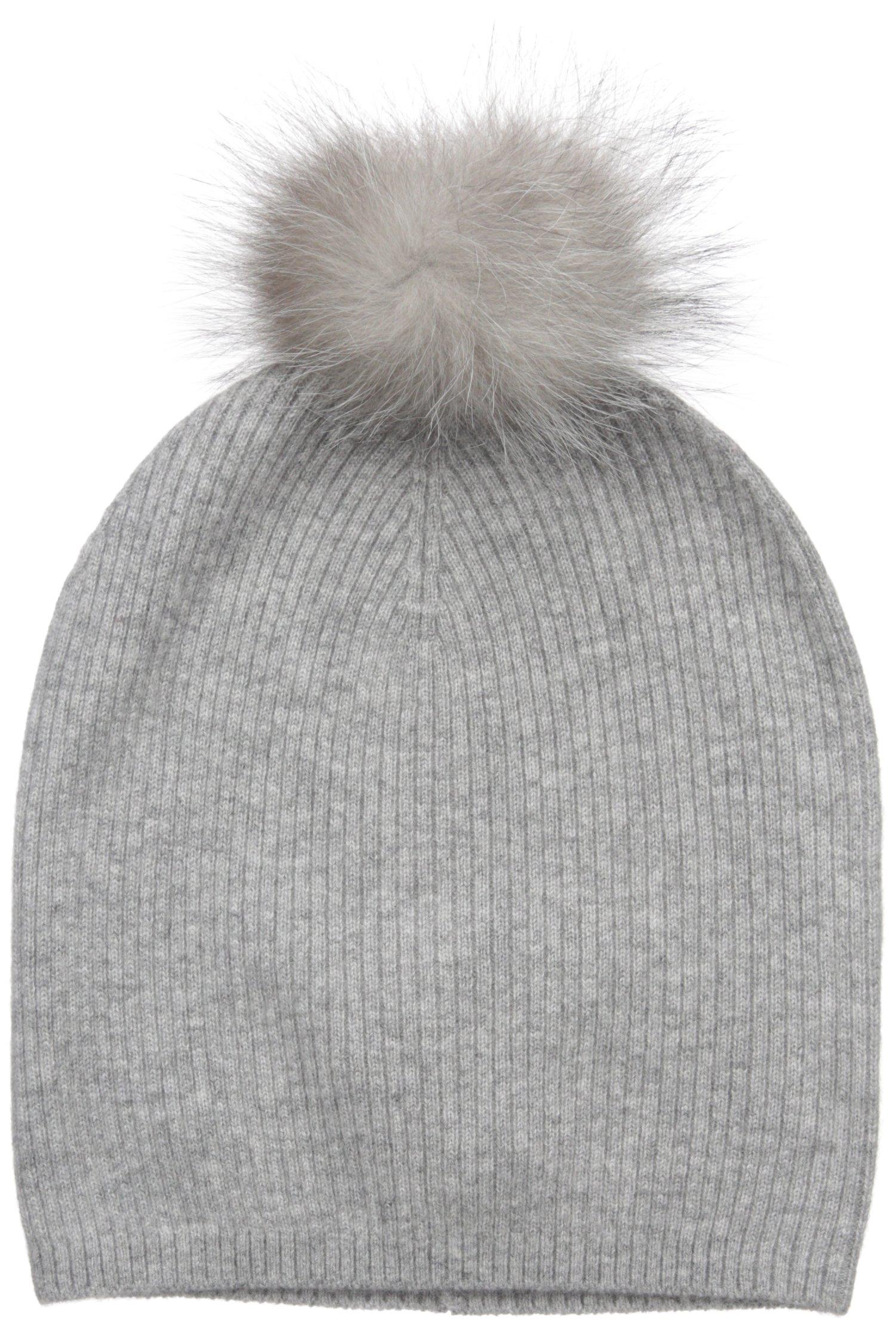 Sofia Cashmere Women's 100% Cashmere Slouchy Beanie With Indigo Fox Fur Pom, Elephant Grey, One Size