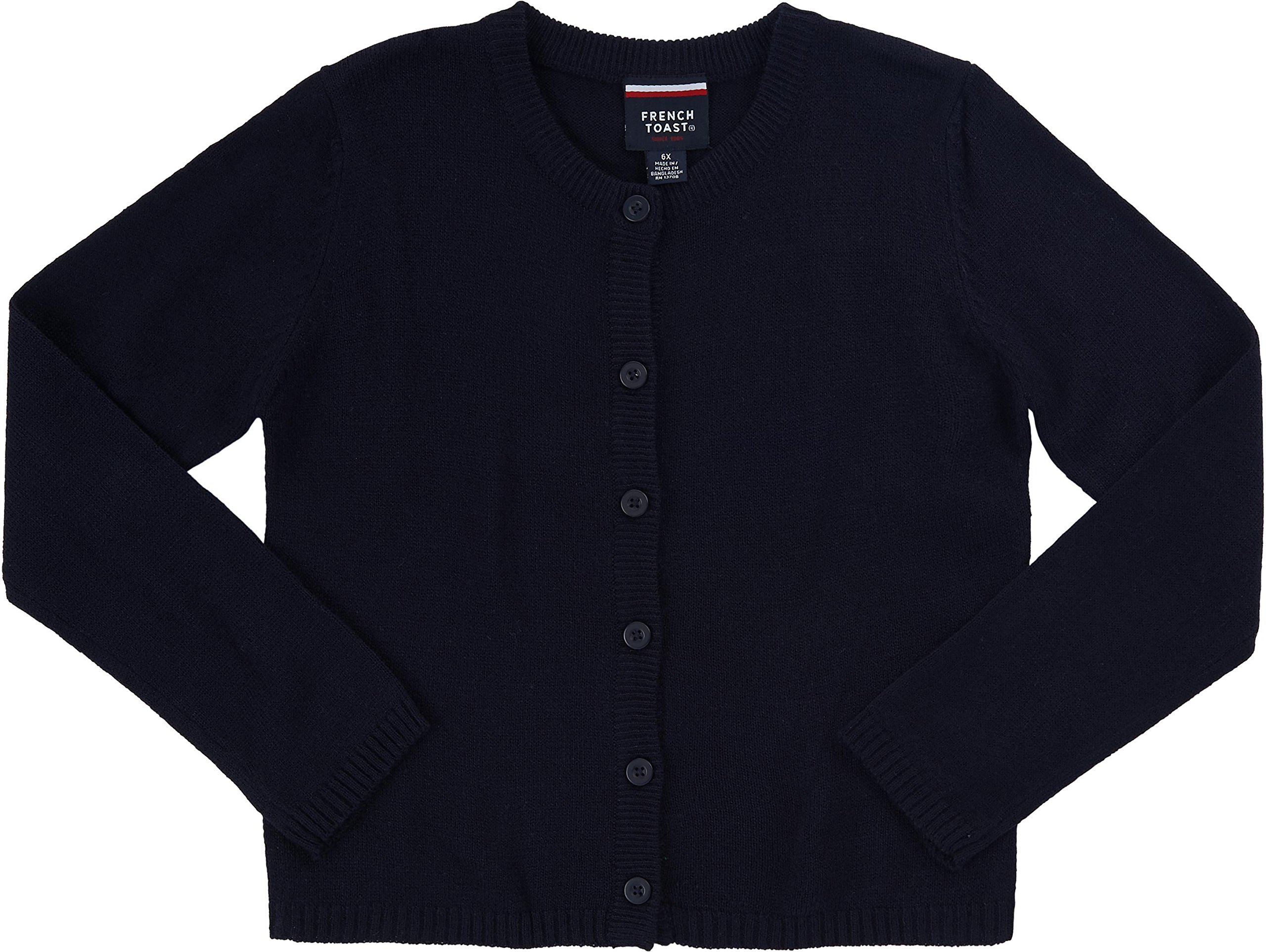 French Toast School Uniform Girls Knit Cardigan Sweater, Navy, Small (6/6X)