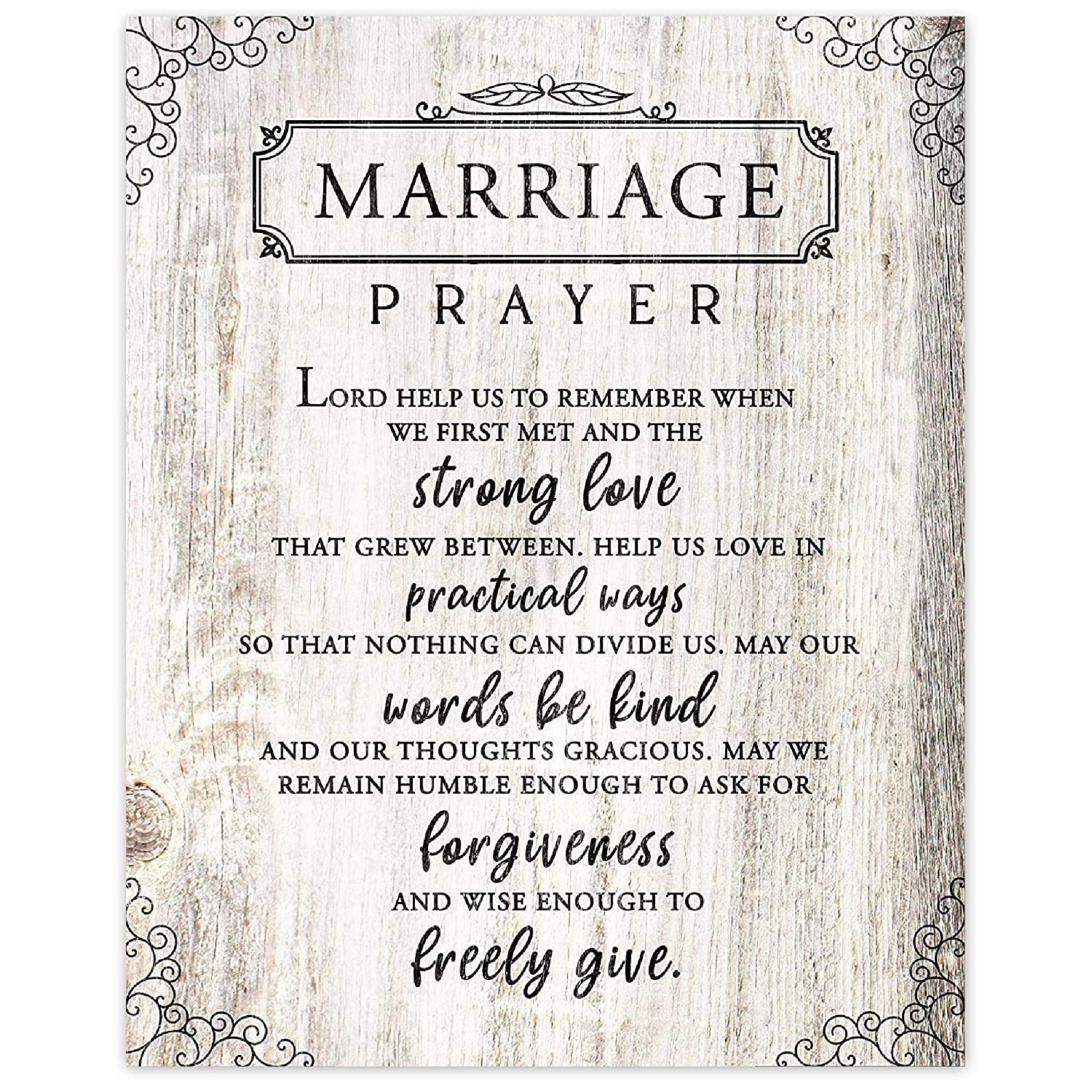 Marriage Prayer Prints, Set of 1 (8x10) Unframed Photo, Unique Wall Art Decor Gifts Under 15 for Newly Married Home, Bride, Groom, First Year Anniversary, Couples, Fiance
