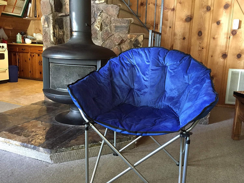 Peachy Ecolinear Oversized Folding Faux Fur Moon Saucer Chair Blue Alphanode Cool Chair Designs And Ideas Alphanodeonline