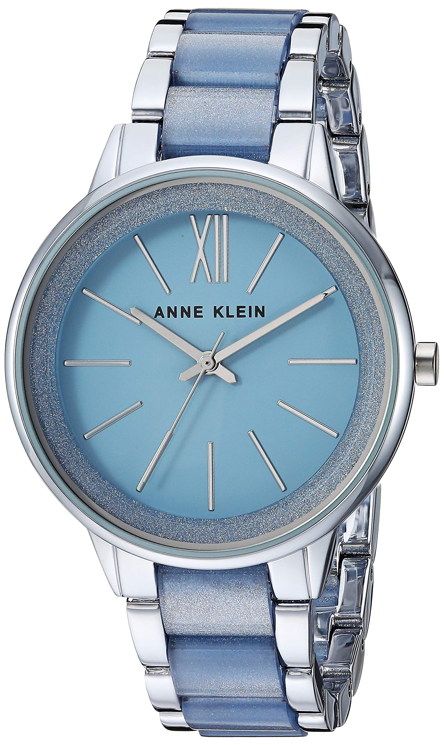 Anne Klein Women's AK/1413LBSV Silver-Tone and Light Blue Resin Bracelet Watch by Anne Klein