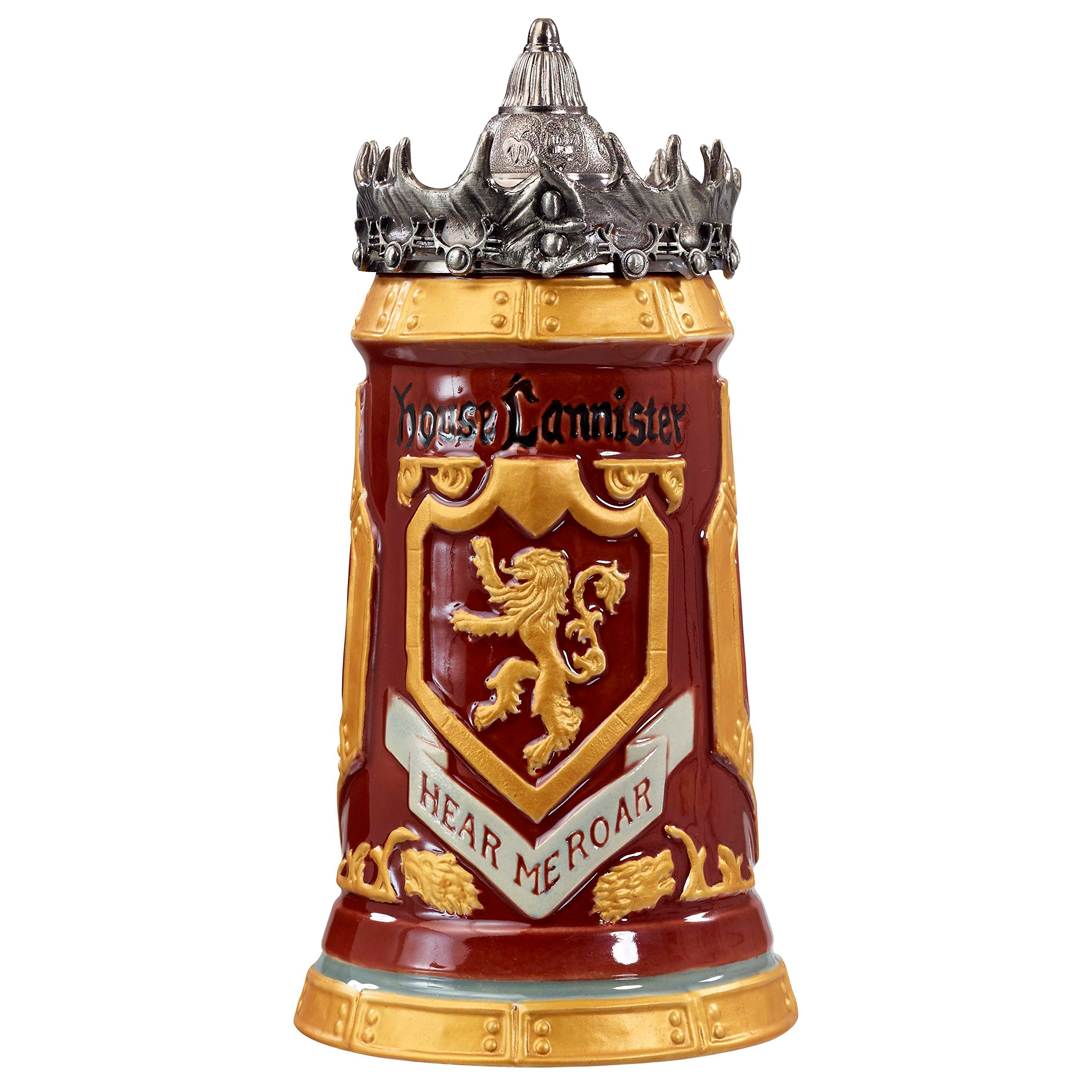 Game of Thrones House Lannister Stein - 22 Ounces Ceramic Base with Pewter Baratheon Crown Top