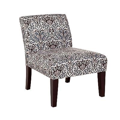 Carver 1006-01-F15 Avington Midnight Scroll Slipper Chair, One, Blue, White, Black, and Tan