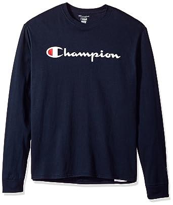 80ca5caa020 Amazon.com  Champion LIFE Men s Cotton Tee (Patriotic Long Sleeve Script)   Clothing