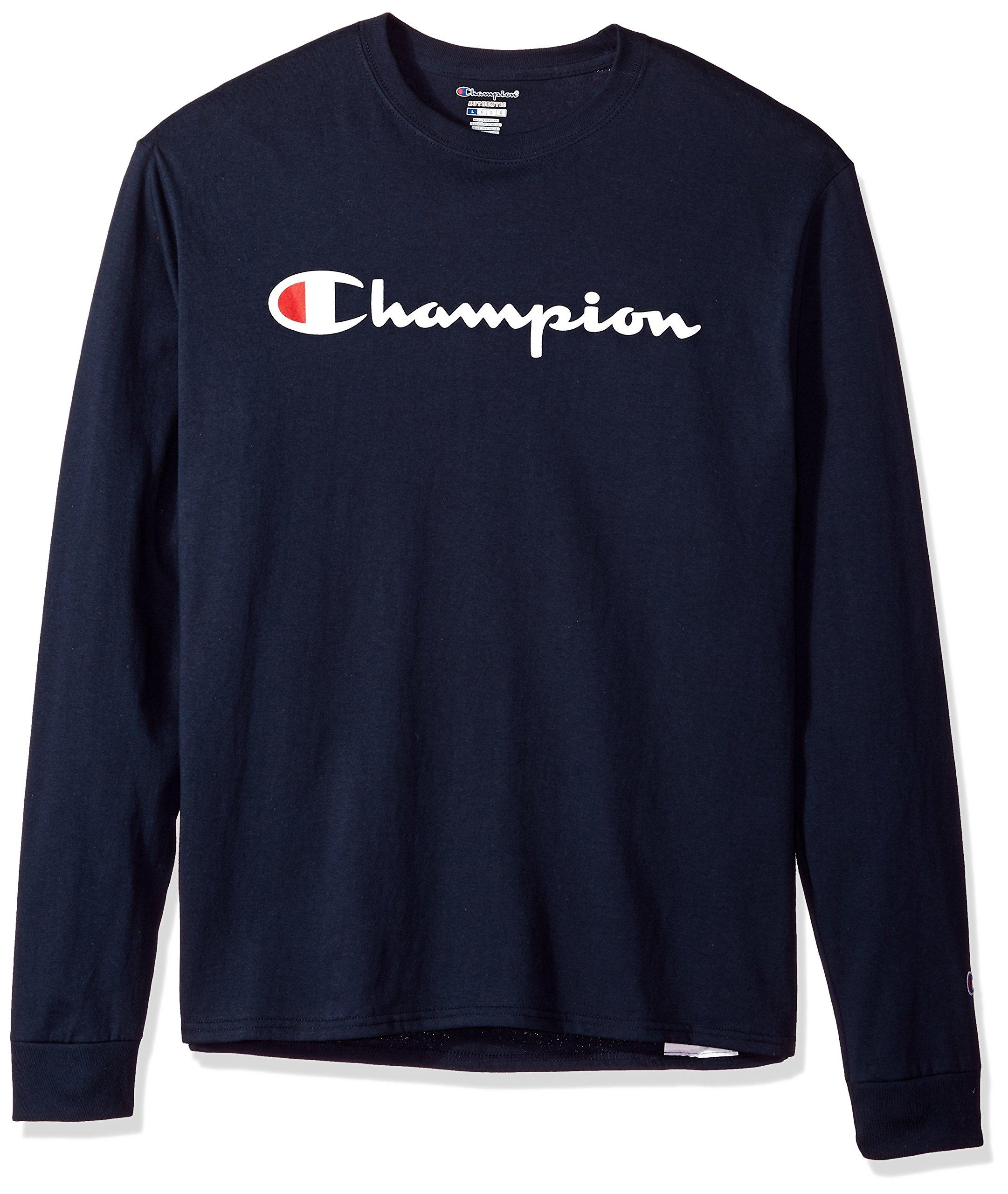 Champion LIFE Men's Cotton Tee (Patriotic Long Sleeve Script), Navy/Patriotic Champion Script, L