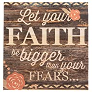 P. Graham Dunn Let Your Faith Be Bigger Than Your Fears… 12 x 12 inch Pine Wood Plank Wall Sign Plaque