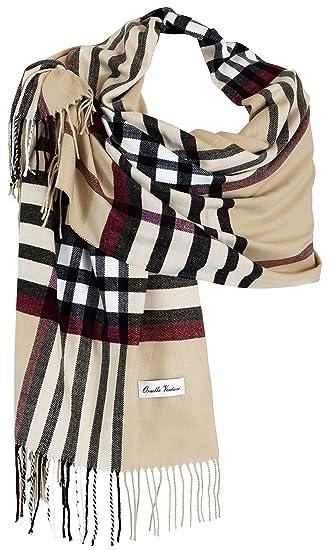Ornella Venturi Ladies Etole écharpe Foulard à carreaux en look à carreaux  tendance SC81703 197 x 63 x 0,5 cm (Beige (Beige))  Amazon.fr  Vêtements et  ... 397b741c80d