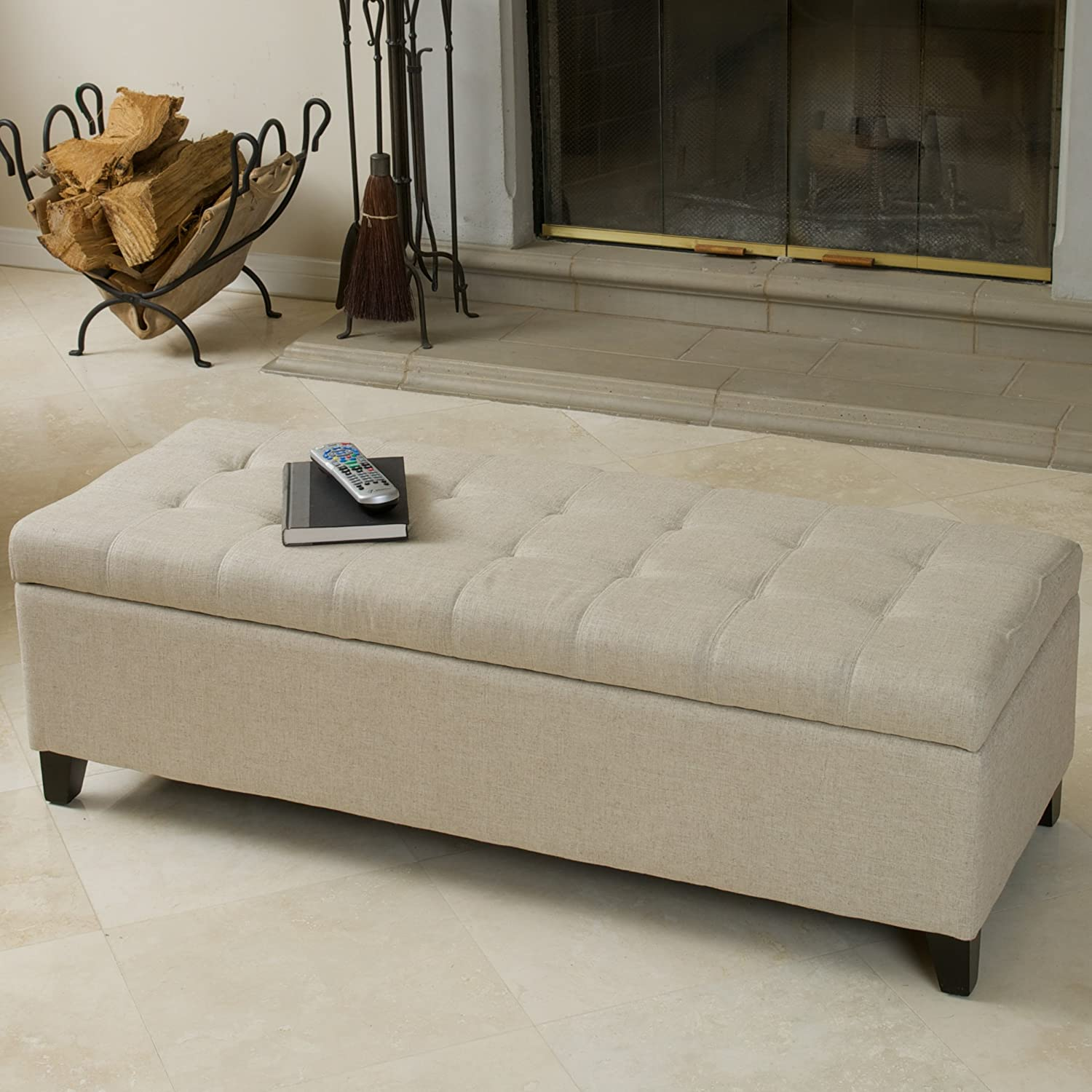 Superior Amazon.com: Best Selling Mission Tufted Fabric Storage Ottoman Bench,  Beige: Kitchen U0026 Dining