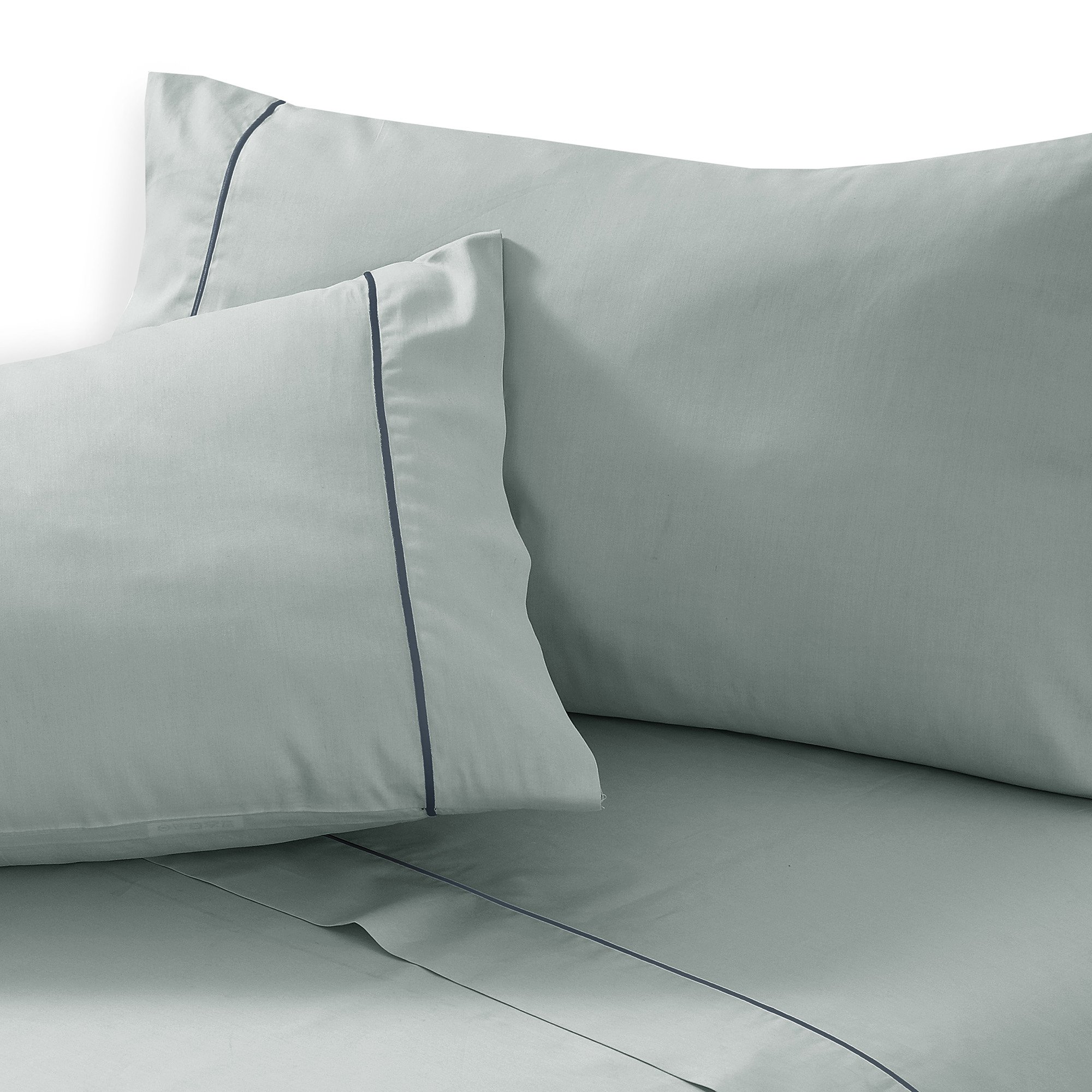 The Pride Collection 100% Cotton 500 Thread Count Luxury Sheets with French Embroidery Stitch Queen Bed Mint Green with Grey Stitch