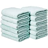 Amazon Basics - Toalla de algodón para manos, color azul, paquete de 12