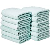 AmazonBasics Cotton Hand Towels, Set of 12, Ice Blue