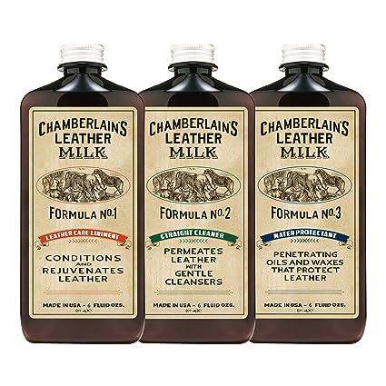 Chamberlains Leather Milk - Set de restauración de cuero - Limpiador, acondicionador e impermeabilizante naturales - No. 1, 2 y 3 - Con 3 ...