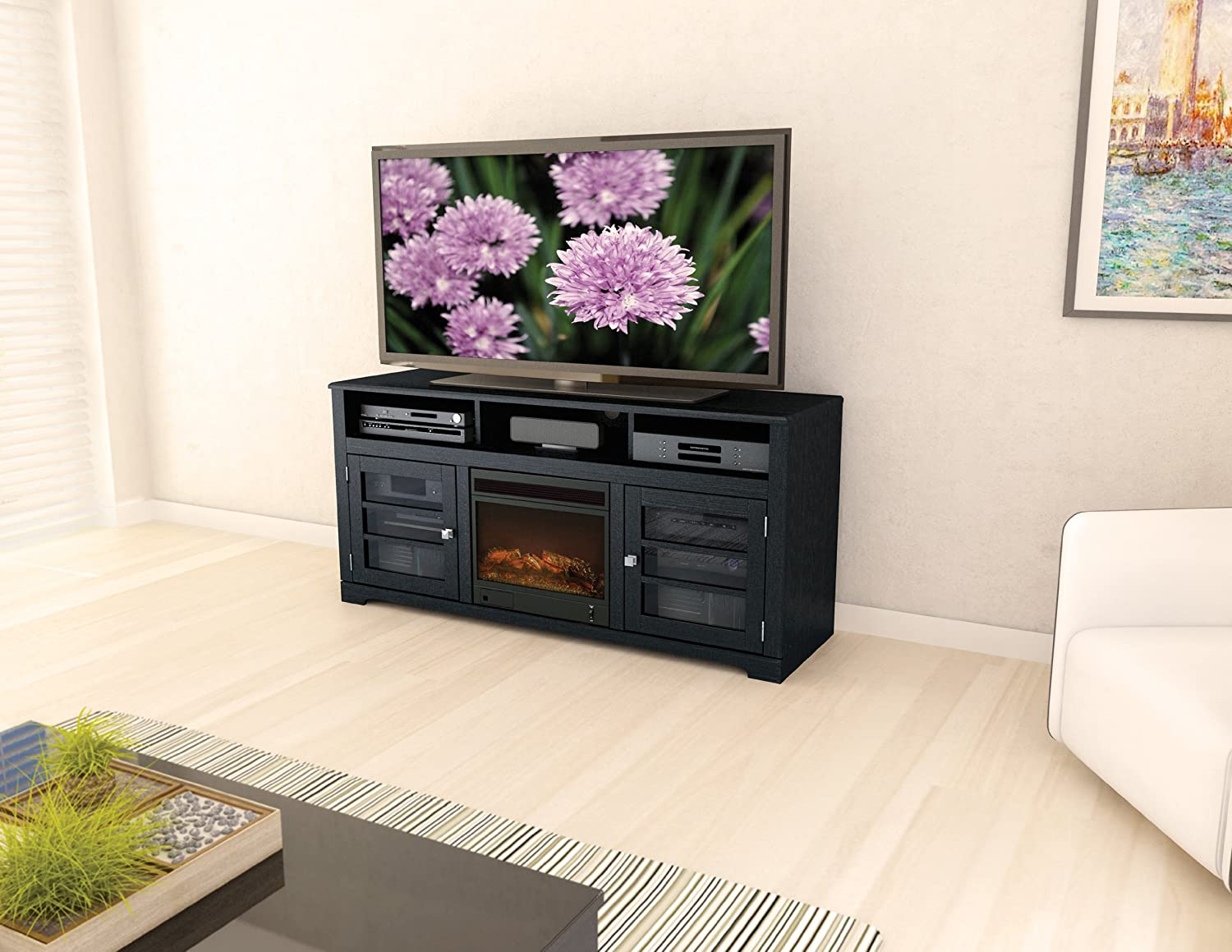 Ashley Furniture Signature Design – Gavelston TV Stand – Electric Fireplace – Entertainment Console – 61 in – Black