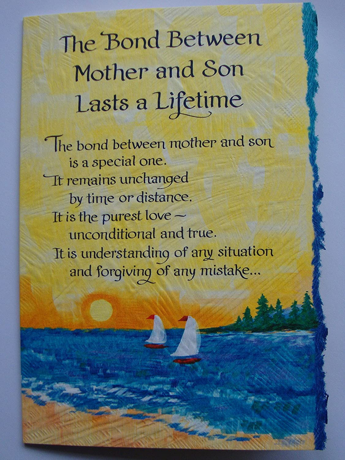 Blue mountain Card Bond between mother and son lasts a lifetime