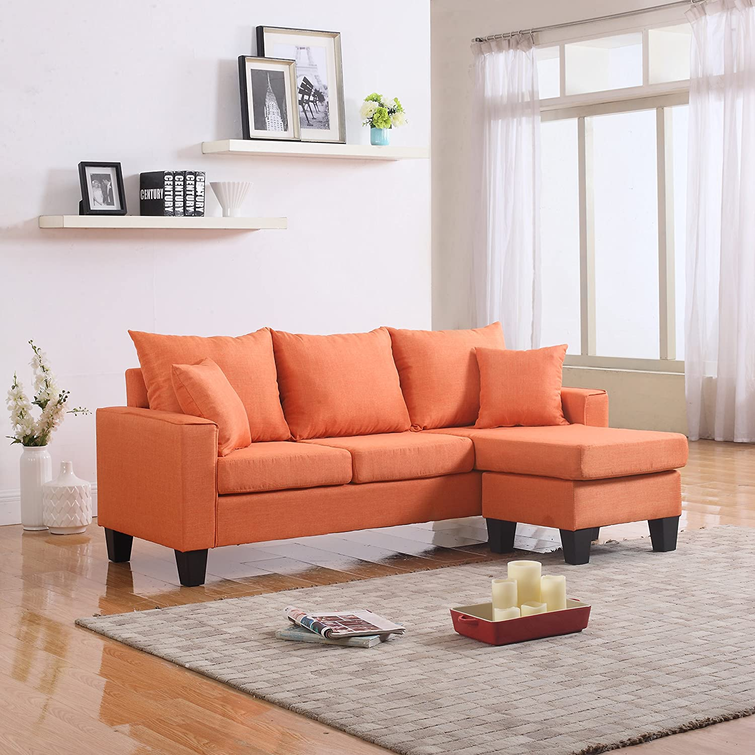 Amazon com divano roma furniture modern linen fabric small space sectional sofa with reversible chaise orange kitchen dining