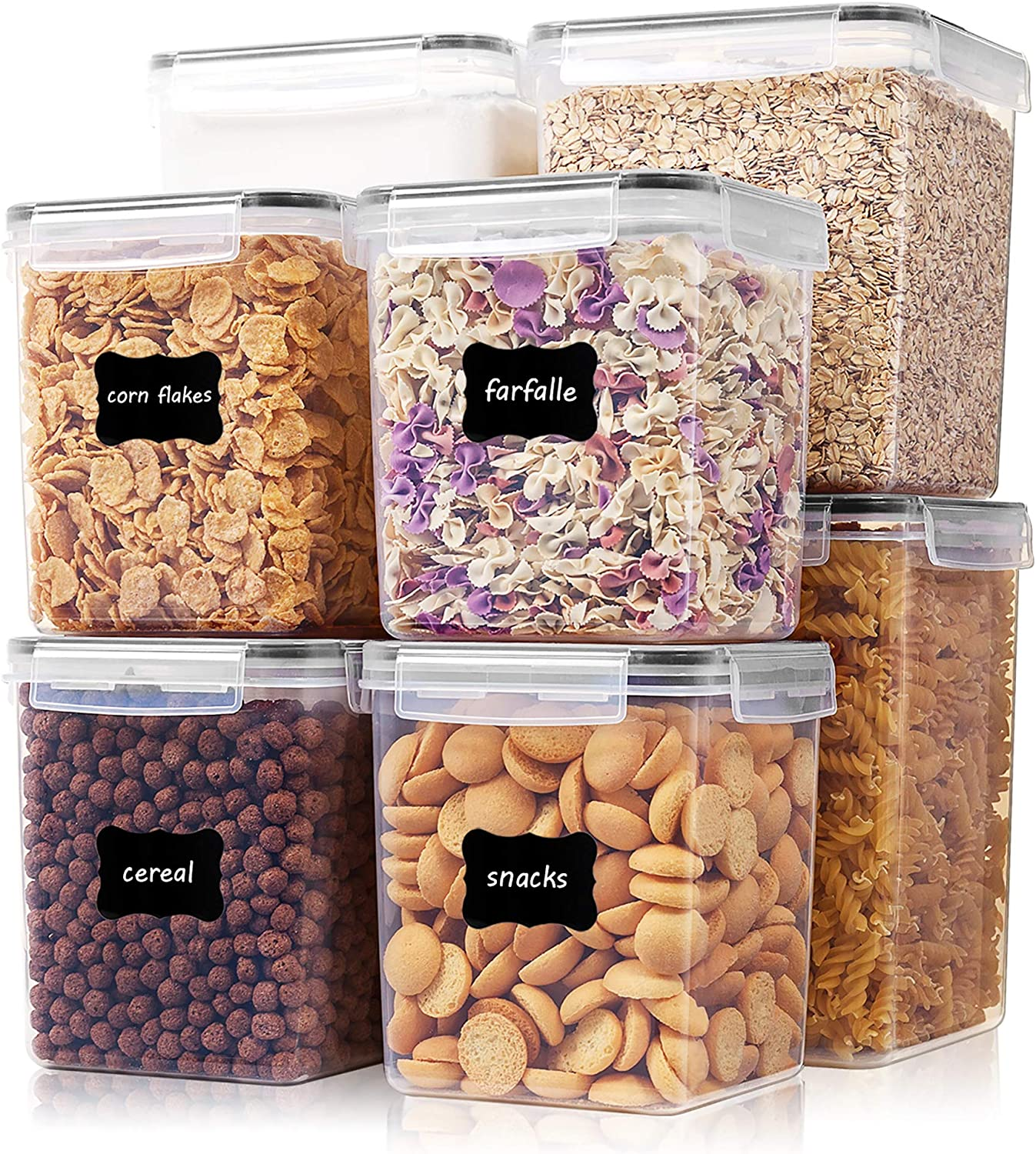 Large Tall Airtight Food Storage Containers 8 Pieces, Vtopmart BPA Free Plastic Kitchen Storage Containers for Bulk Food, Flour, Sugar and Baking Supplies, with 24 Labels, Black