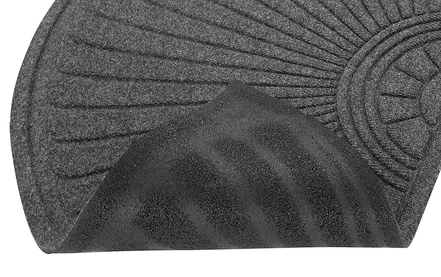 3x6 Charcoal Black Guardian EcoGuard Diamond w//Single Fan Indoor Wiper Floor Mat Recycled Plactic and Rubber