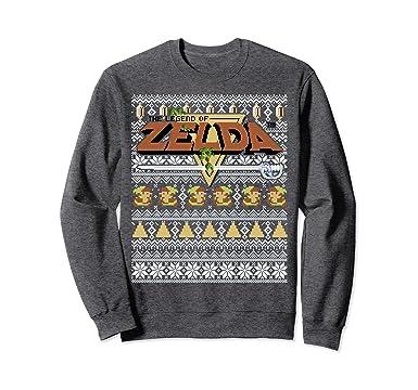 29335b861b Unisex Nintendo Zelda 8-Bit Ugly Holiday Sweater Sweatshirt 2XL Dark Heather