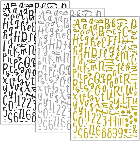 QQ&U Glitter Cursive Alphabet Letter and Number Stickers