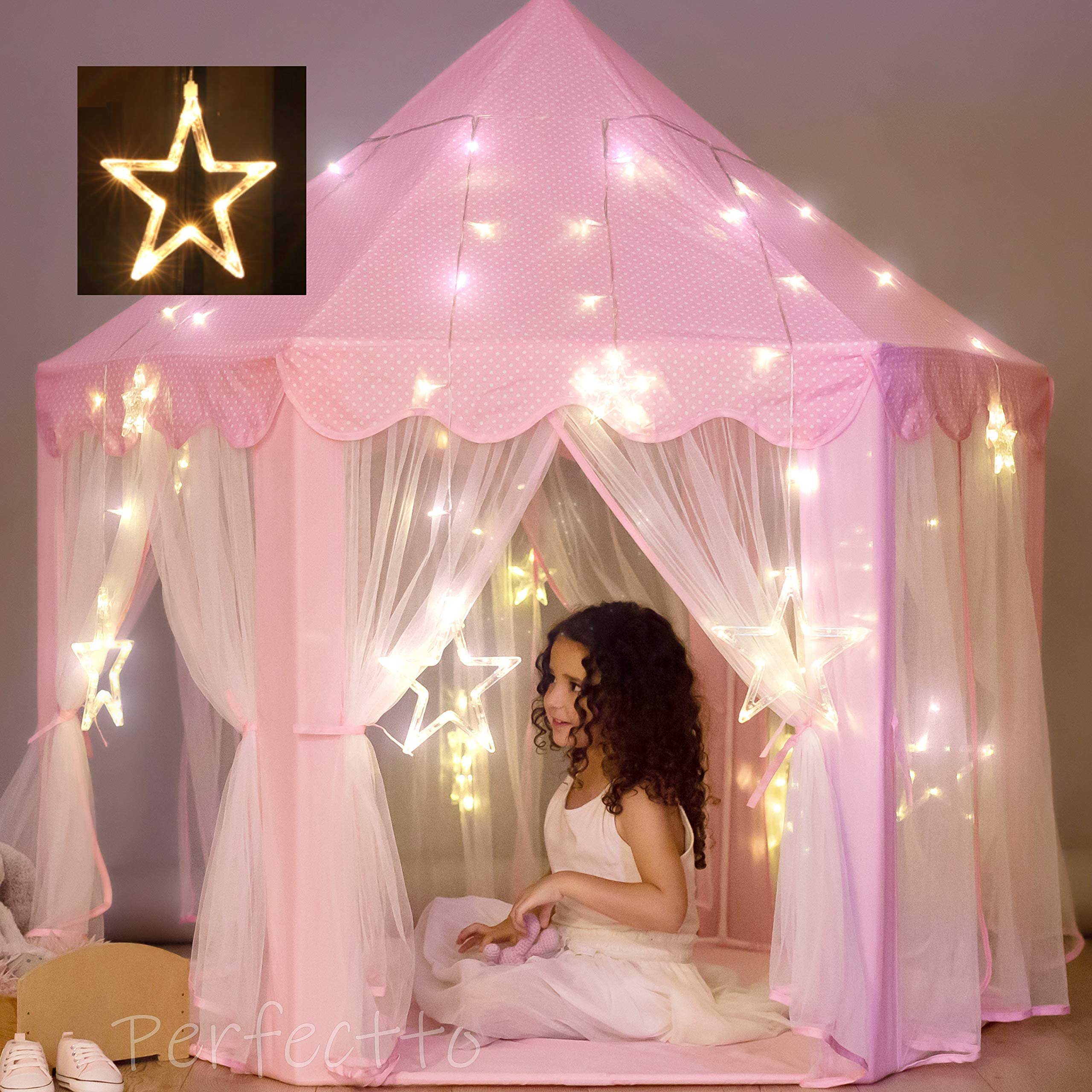 Princess Castle Play Tent with Large Star Lights. Little Girls Princess Tent Toy for Indoor. Pretend and Imaginative Play house. Have Fun, Encourage Social Interaction. Gift for Girls Age 3 4 5 6 7 by PerfecttoDesign