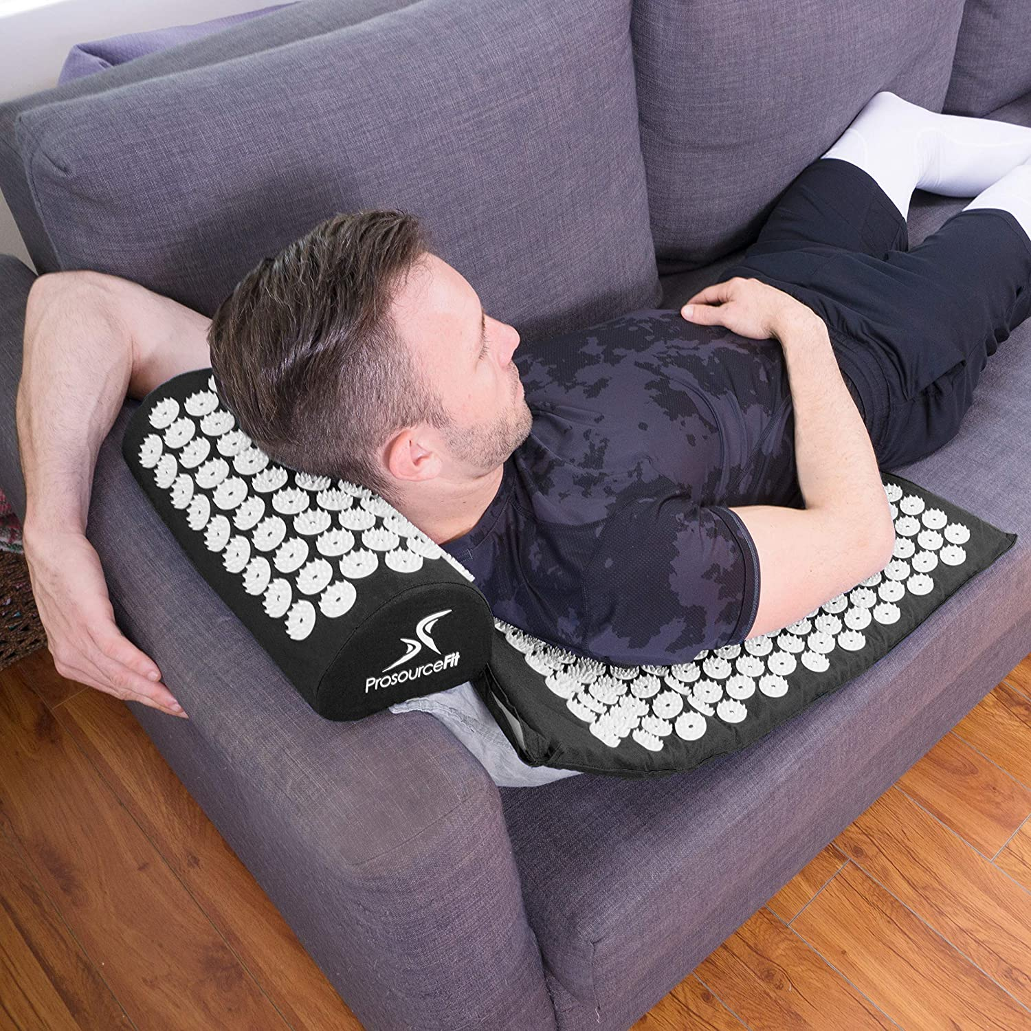 Acupressure Mat and Pillow Set for Back/Neck Pain Relief & Muscle Relaxation - Black
