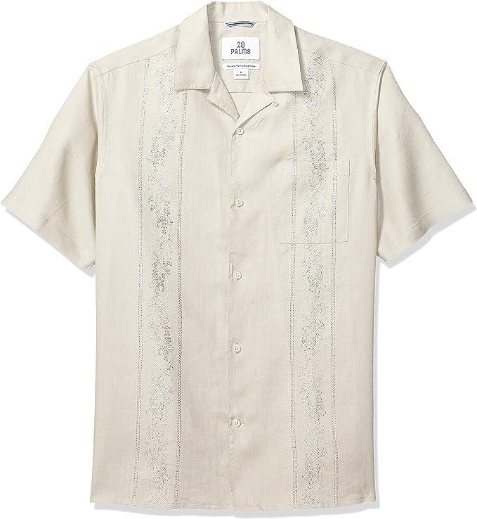 Marca Amazon 28 Palms – Camisa guayabera de 4 bolsillos
