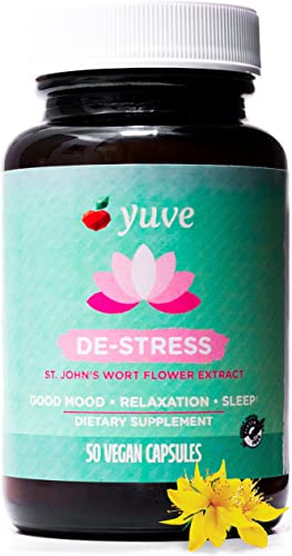 Yuve Anxiety Relief Vitamin Supplement – Mood Enhancer Mental Health Support – 300 mg All Natural Pure St. John s Wort Extract – Promotes Well Being – Non-GMO, Gluten-Free, Vegan – 50 Veg Capsules