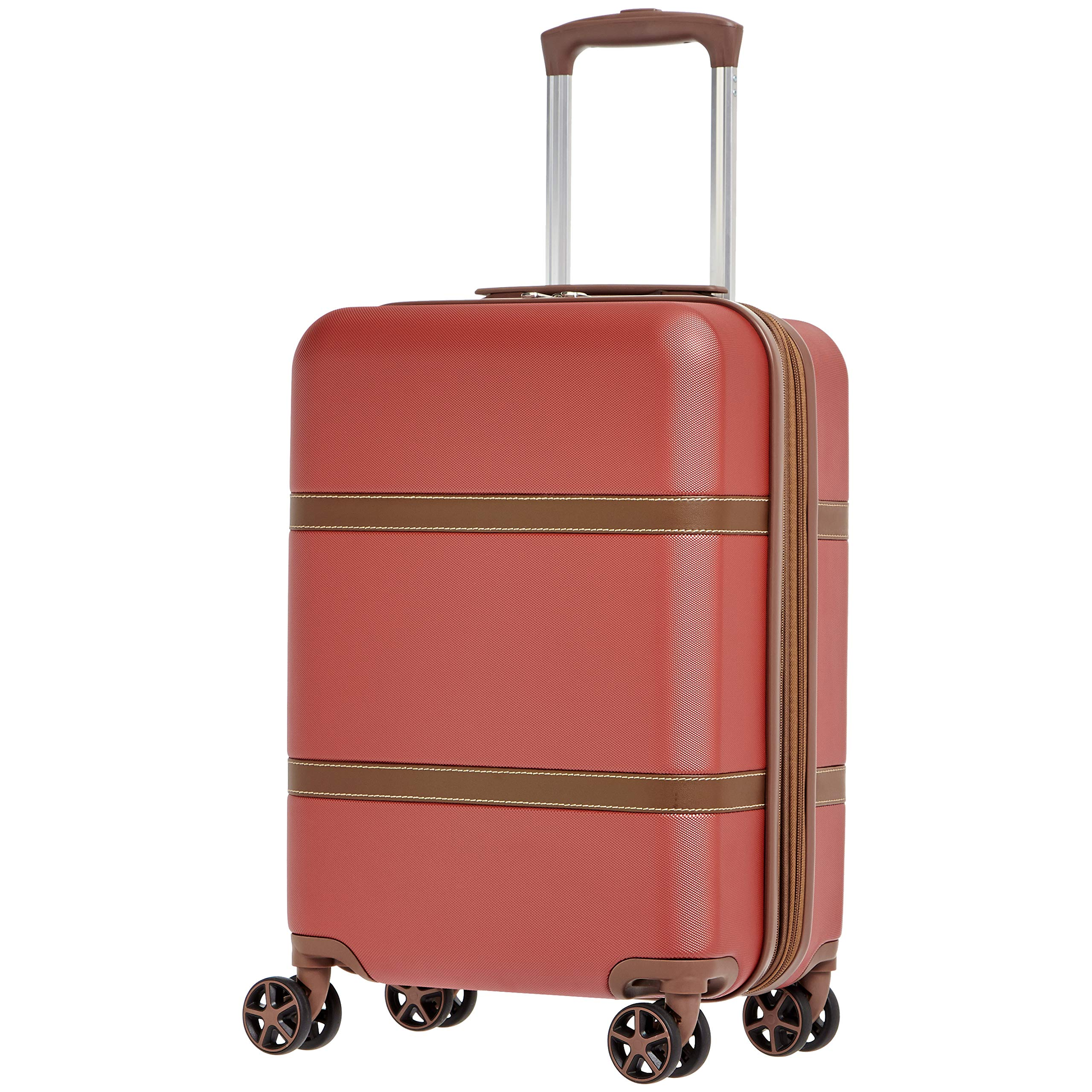 AmazonBasics Vienna Expandable Carry-On Luggage Spinner Suitcase - 20 Inch, Red