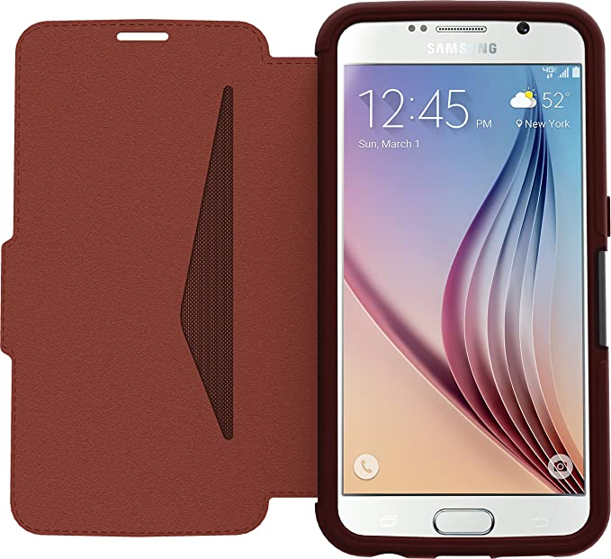 best service 742d3 c7c13 OtterBox STRADA SERIES Leather Wallet Case for Samsung Galaxy S6 - Retail  Packaging - CHIC REVIVAL (WARM BLACK/MAROON LEATHER)