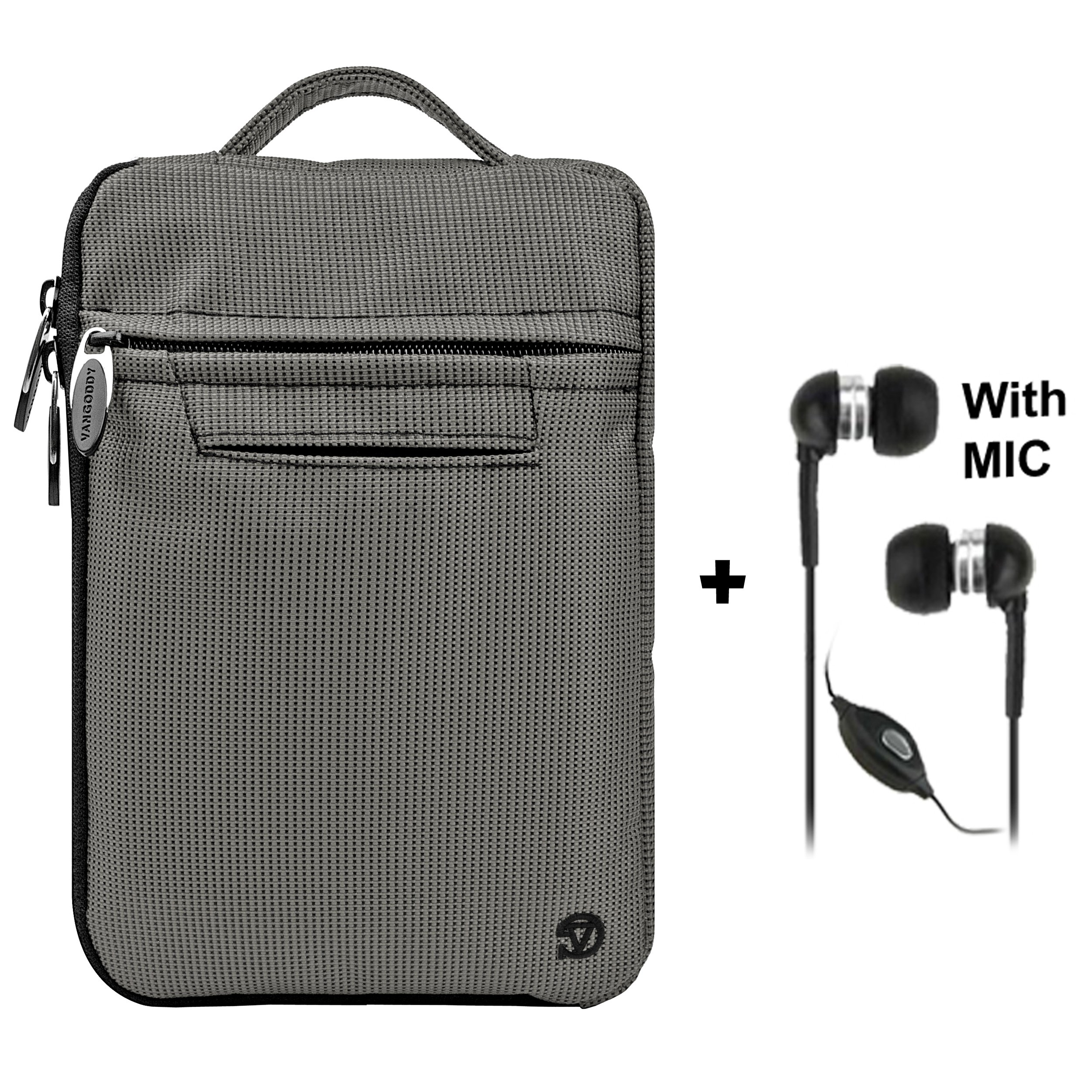 Gray Mighty Nylon Jacket Slim Compact Protective Sleeve Bag Case with accessories compartment for Pandigital Novel 7'' Color Multimedia eReader + Black Clear HD Noise Filter Ear buds Earphones Headphones with a MIC ( 3.5mm Jack )