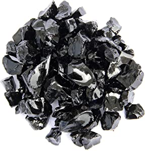 Hiland Fire Pit Fire Glass in Black, Extreme Tempature Rating, Good for Propane or Natural Gas, 10 Pounds