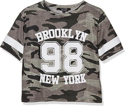 New Look Camo Crop Stripe Camiseta, Verde (Dark Khaki), 12-13 ...