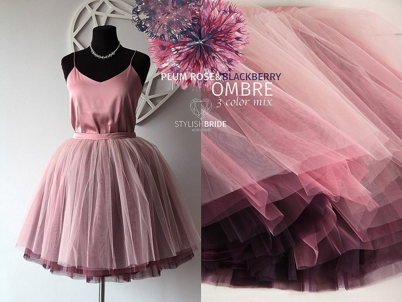 9a90e9877 Amazon.com: Plum Rose&Blackberry Ombré Tulle Skirt 7 Layers Super Puff,  100% exclusive, Handmade Tulle Skirt Woman, Blush BlackBerry Tulle Skirt  Bridal: ...