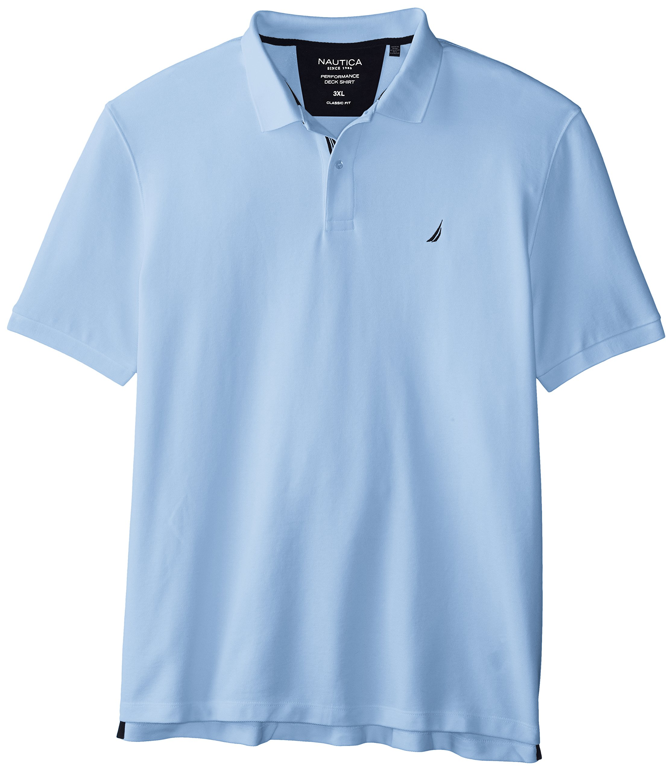 Nautica Men's Short Sleeve Solid Deck Polo Shirt, Noon Blue, X-Large