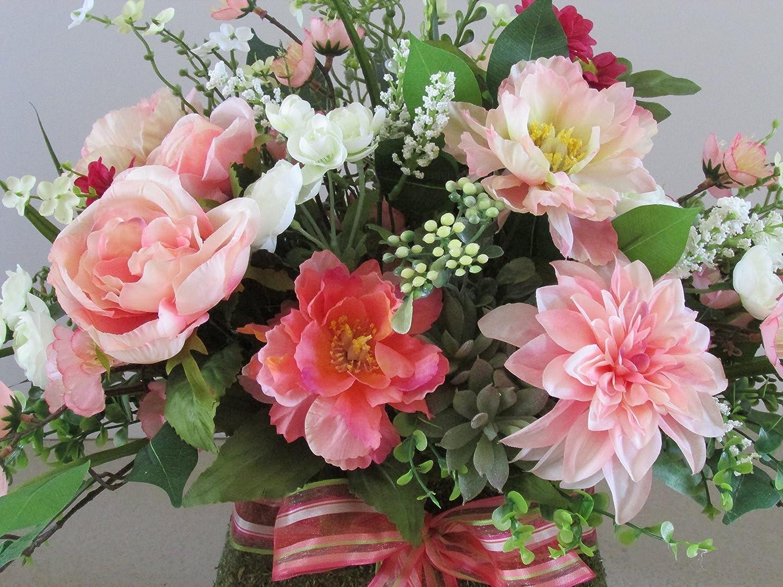 Amazon Com Moss Purse Floral Arrangement Pink And Coral Floral