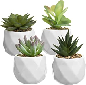 MyGift Mini Faux Succulent Plants in Faceted Ceramic Planters, Set of 4 (Plants 1)
