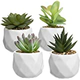 MyGift Mini Faux Succulent Plants in Faceted Ceramic Planters, Set of 4