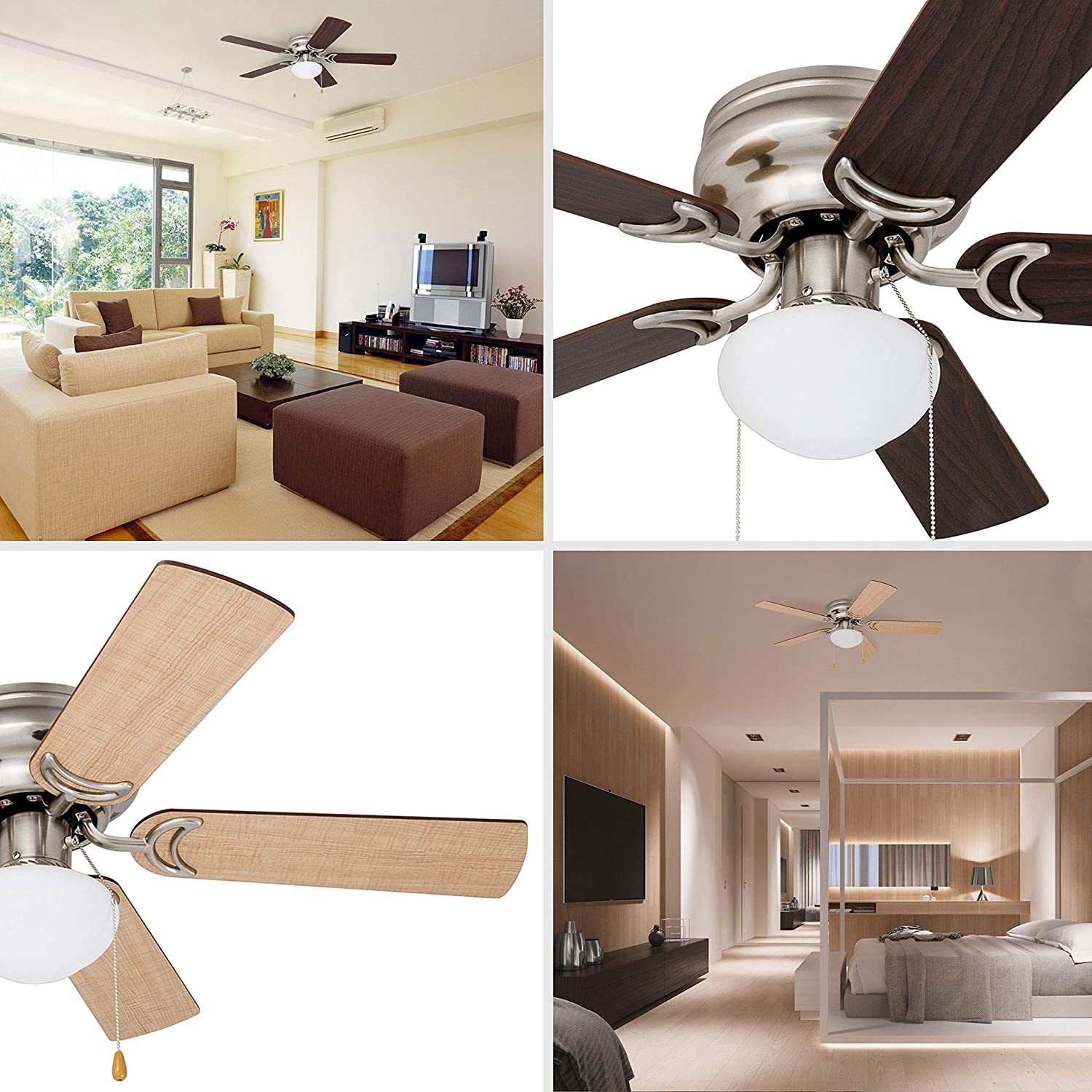 Prominence Home 80029-01 Alvina Led Globe Light Hugger Low Profile Ceiling Fan, 42 inches, Satin Nickel