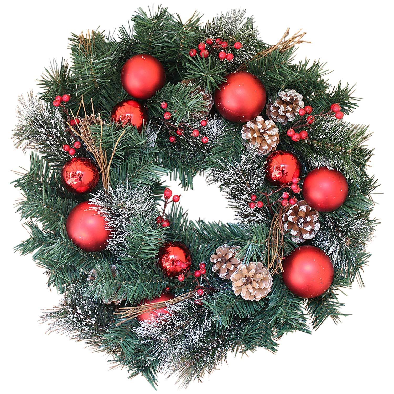 Christmas Wreaths.The Wreath Depot Whitehall Decorated Christmas Wreath 22 Inch Full Christmas Wreath Design Beautiful White Gift Box