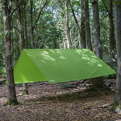 Andes - Bâche pour camping - imperméable/léger/compact/résistant - tissu Ripstop - vert - 3 x 3 m