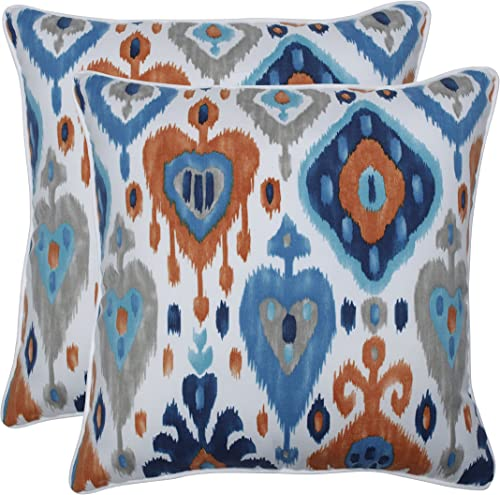 Pillow Perfect Outdoor Indoor Paso Azure 18.5-inch Throw Pillow Set of 2 , Blue