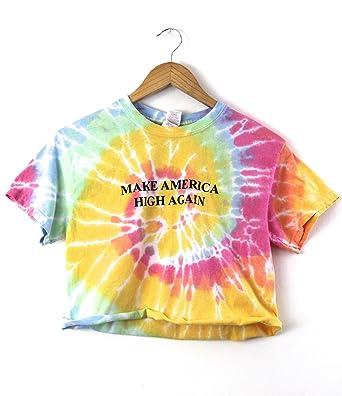 2faa9f78c35 Amazon.com: Make America High Again Pastel Rainbow Tie-Dye Graphic ...